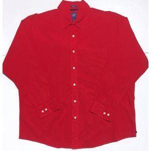 GAP Relaxed Fit button long sleeve shirt red Large